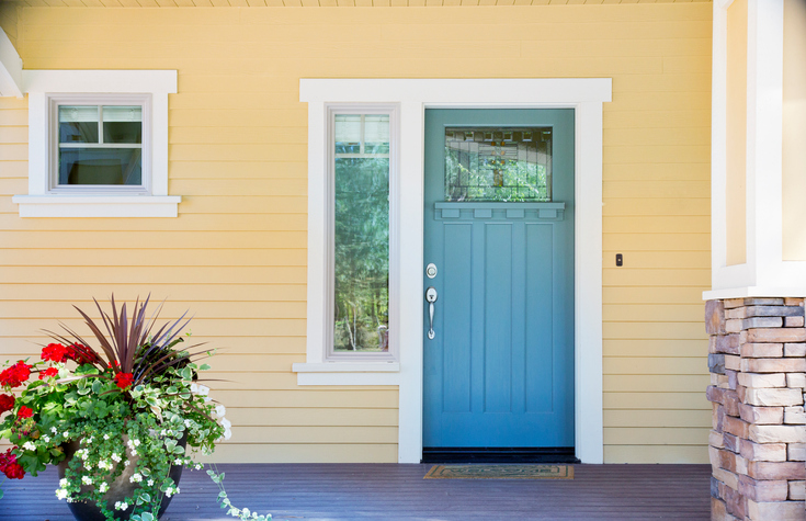 выбор цвета входной двери к цвету фасада